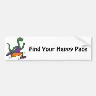 Funny Green Brontosaurus Dinosaur Jogging Bumper Sticker
