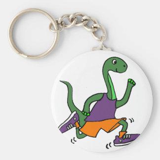 Funny Green Brontosaurus Dinosaur Jogging Keychain