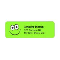 Funny green cartoon face return address labels label