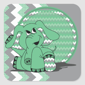 Funny Green Chevron Silly Elephant Stickers