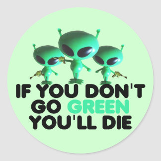 Funny green classic round sticker
