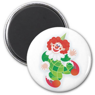 funny green clown 2 inch round magnet