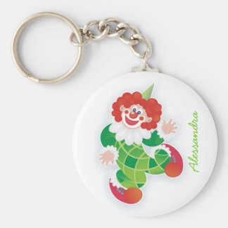 funny green clown with your name basic round button keychain