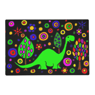 Funny Green Dinosaur Abstract Placemat