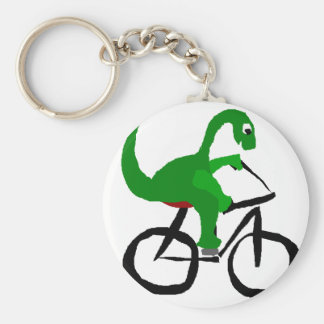Funny Green Dinosaur Riding Bicycle Basic Round Button Keychain