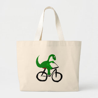 Funny Green Dinosaur Riding Bicycle Large Tote Bag