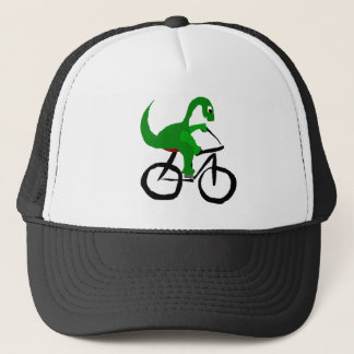 Funny Green Dinosaur Riding Bicycle Trucker Hat