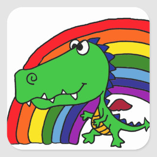 Funny Green Dragon and Rainbow Cartoon Square Stickers
