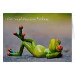 Funny Green Frog Birthday Card