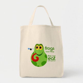 Funny Green Frog Canvas Shopping Bag