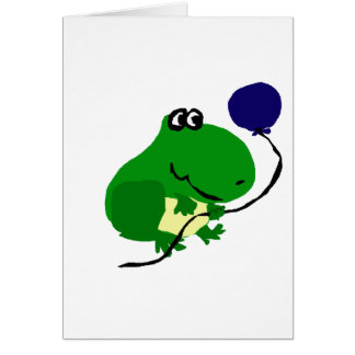 Funny Green Frog Holding Blue Birthday Balloon Greeting Card