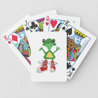 Funny Green Frog in Red Sneakers Art Bicycle Playing Cards