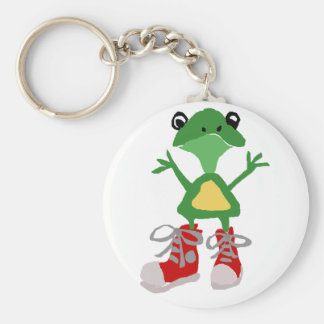 Funny Green Frog in Red Sneakers Art Keychain