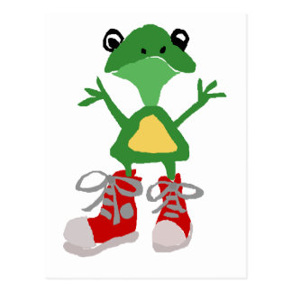 Funny Green Frog in Red Sneakers Art Postcard