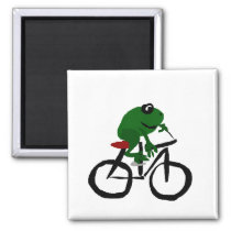 Funny Green Frog Riding a Bicycle Magnet