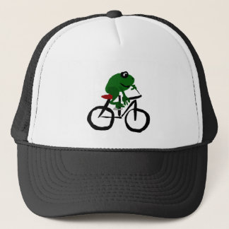 Funny Green Frog Riding Bicycle Trucker Hat