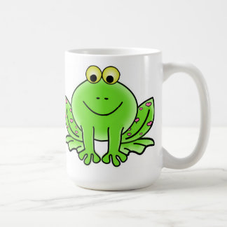 Funny GREEN FROG with Hearts on His Legs MUG