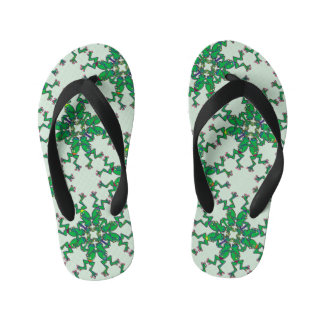 Funny green frogs doing synchronised swimming kid's flip flops