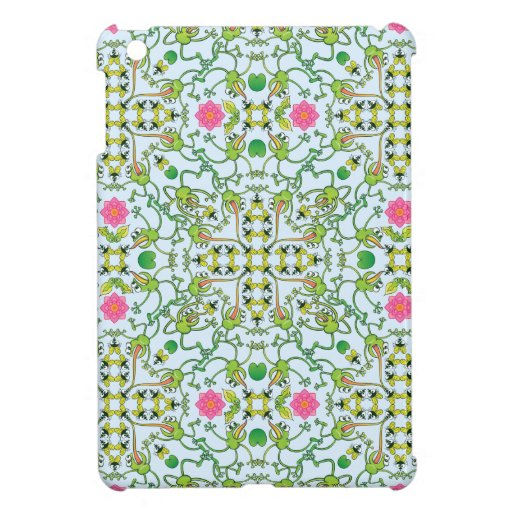 Funny green frogs hunting flies mandala design case for the iPad mini