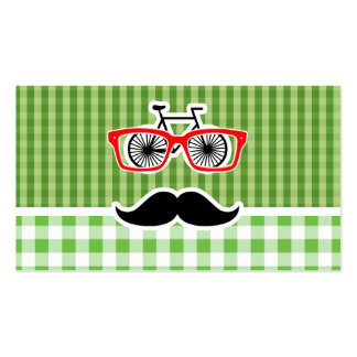 Funny Green Gingham Mustache Business Card Templates