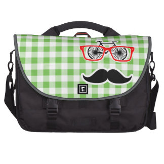 Funny Green Gingham Mustache Commuter Bags