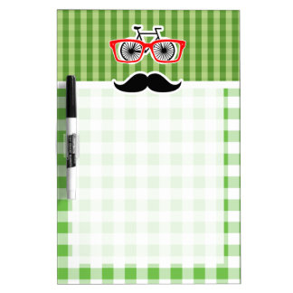 Funny Green Gingham Mustache Dry-Erase Board