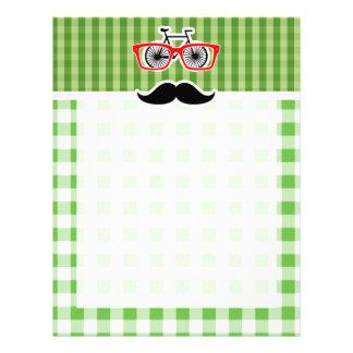 Funny Green Gingham Mustache Letterhead Template