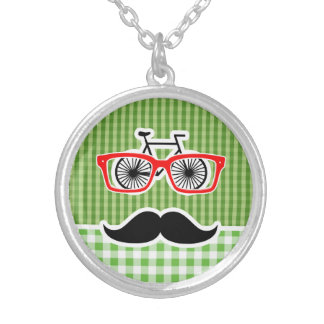 Funny Green Gingham Mustache Necklaces