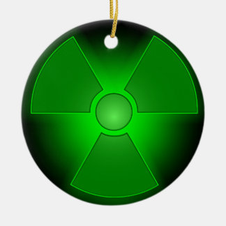 Funny green glowing radioactivity ceramic ornament