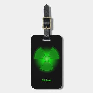 Funny green glowing radioactivity symbol bag tag