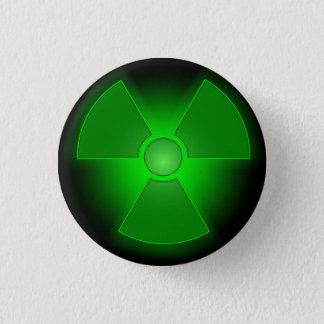 Funny green glowing radioactivity symbol button