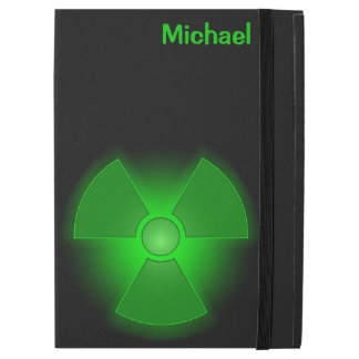Funny green glowing radioactivity symbol iPad pro case
