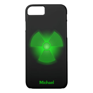 Funny green glowing radioactivity symbol iPhone 7 case