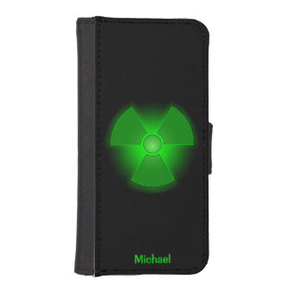 Funny green glowing radioactivity symbol iPhone SE/5/5s wallet
