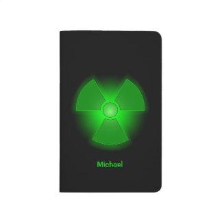 Funny green glowing radioactivity symbol journal