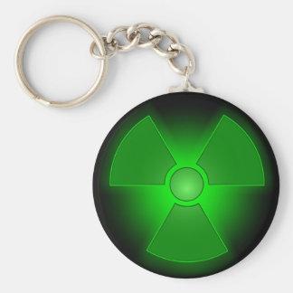 Funny green glowing radioactivity symbol keychain