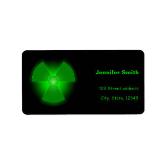 Funny green glowing radioactivity symbol label