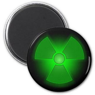 Funny green glowing radioactivity symbol magnet