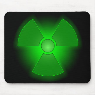 Funny green glowing radioactivity symbol mouse pad