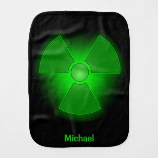 Funny green glowing radioactivity symbol name baby baby burp cloth