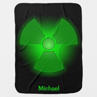 Funny green glowing radioactivity symbol name baby stroller blanket