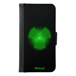 Funny green glowing radioactivity symbol samsung galaxy s6 wallet case