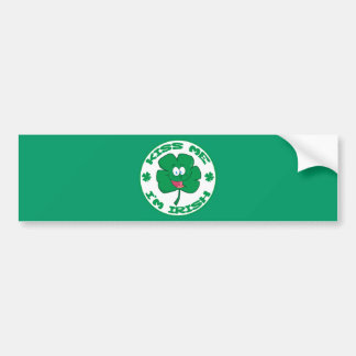 FUNNY GREEN KISS ME I'M IRISH CLOVER CARTOON SAYIN BUMPER STICKER