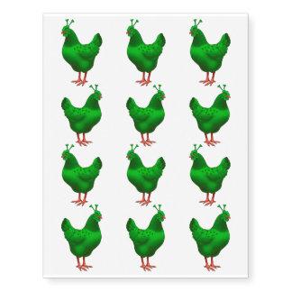 Funny Green Martian Alien Chicken Temporary Tattoos