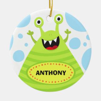 Funny green monster kids door hanger or nursery ornament
