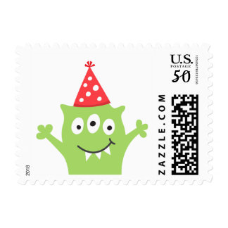 Funny, green monster with party hat postage