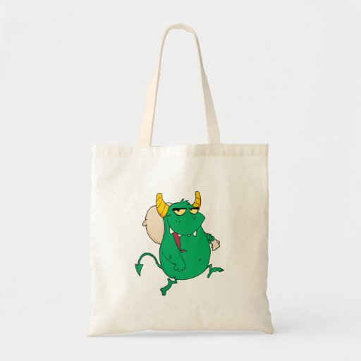 funny green monster with sac tote bags