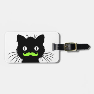 FUNNY GREEN MUSTACHE, BLACK CAT LUGGAGE TAG