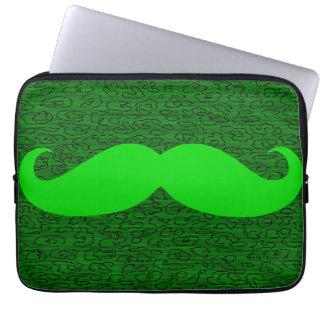 Funny Green Mustache Laptop Sleeve