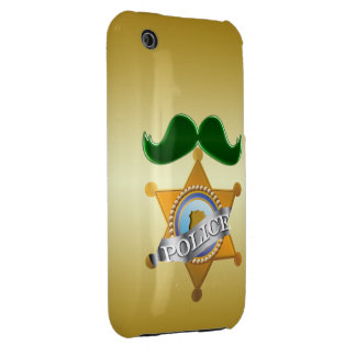 Funny Green Mustache Police iPhone 3 Case-Mate Case